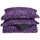 Divatex Microfiber Zebra Comforter Mini Sets Twin Purpleblack