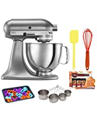 KitchenAid KSM150PSCU Artisan Series 5-Quart Tilt-Head Stand Mixer in Contour Silver w Stainless Measuring Cup Set + Kamenstein Mini... by KitchenAid