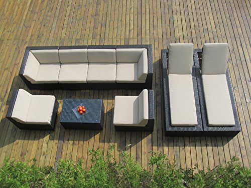 Ohana Collection PNC902 9-Piece Outdoor Sectional Sofa and Chaise Lounge Set photo