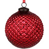 EarthenMetal Handcrafted Red Coloured Christmas Decoratives / Glass Hanging Ball-5inch
