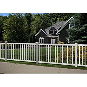 WamBam Traditional 4 by 7-Feet Premium Yard and Pool Vinyl Fence Panel with Post and Cap