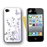 White And Silver Floral Pattern Hard Back Hybrid Case Cover For The Apple iPhone 4/4S