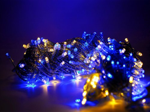 LED Lichterkette Blau - Warmweiss