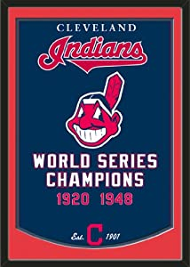 Dynasty Banner Of Cleveland Indians With Team Color Double Matting-Framed Awesome... by Art and More, Davenport, IA