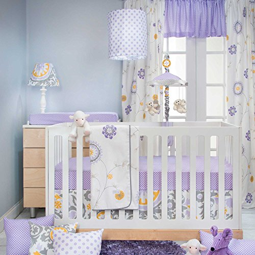 Sweet Potato Fiona 3 Piece Set Includes Quilt, Micro Dot Sheet, Crib Skirt, Purple/White/Yellow