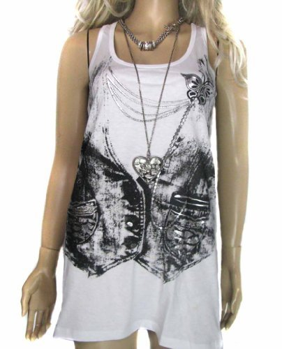 Ladies Long Vest top in Pure White and Black and Silver Detailing with a Waistcoat print, for women