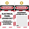 """NMC LOTAG15 """"DANGER - ELECTRICAL PANEL LOCKED-OUT"""" Lockout Tag, Unrippable Vinyl, 3"""" Length, 6"""" Height, Black/Red on White (Pack of 10)"""