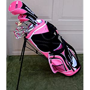 Ladies Complete Golf Clubs Set 2011 Model Drivers, Hybrid, Irons, Putter Bag Pink Color Womens