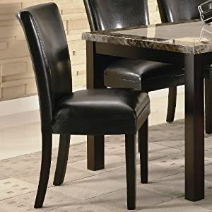 Set of 2 parson dining chairs in black faux for Black leather parsons chairs