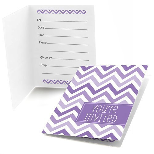 Chevron Purple Fill-in Invitations (8 count)