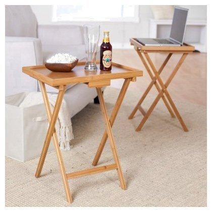 Lipper International Snack Table With Lip, Set Of Two, Bamboo