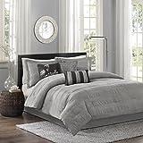 Madison Park Hampton 7 Piece Comforter Set, Queen, Grey