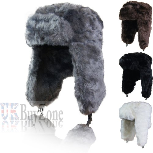 27f77dacbc9 Russian Trapper Cossack Ushanka Faux Fur Winter Ski Hat Ladies Mens Unisex  Black Grey White or