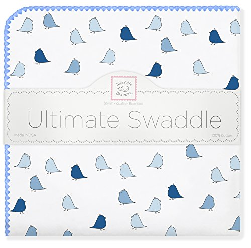 SwaddleDesigns Ultimate Receiving Blanket, Jewel Tone Little Chickies, Bright Blue