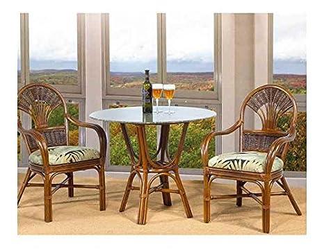Tradewinds 3 Pc Rattan Cafe Table Set in Urban Mahogany (642)