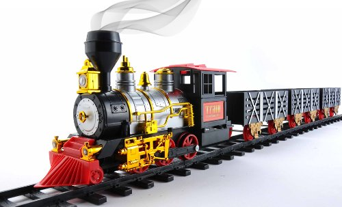 MOTA Christmas Santa Holiday Classic Train with Sound - Light and Real Smoke - Black Red Gold