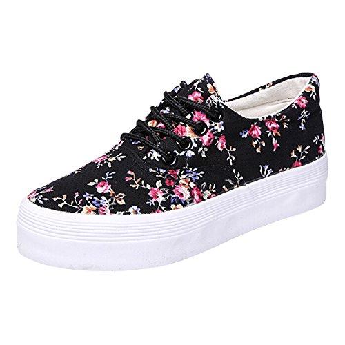 Oasap-Mujer-Zapatillas-de-Lona-Plataforma-Estampado-Floral-Cordones-para-Arriba