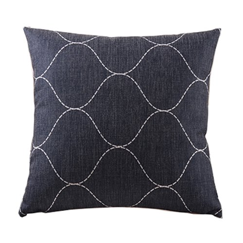 """Create For-Life Cotton Linen Decorative Pillowcase Throw Pillow Cushion Cover Basketweave Pattern Black Square 18"""""""