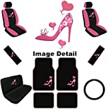 512v%2BG6UtmL. SL160  Lady High Heel Shoe w/ Triple Pink Hearts Auto Accessories Interior Car Truck SUV Combo Kit Gift Set   15PC