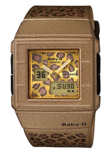 Casio Bga200Lp-5E Women'S Baby-G Gold-Leopard World Time Digital Watch