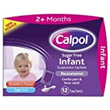 Calpol Sugar Free Infant Suspension Sachets Strawberry Flavour 2+ Months 12 x 5ml Sachets - Pack of 6