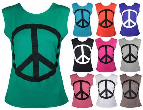 New Ladies Peace Symbol Print Sleeveless T-Shirt