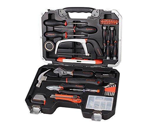 Kompletter-Werkzeugkoffer-kiste-mit-142-Werkzeugen-schwarz-und-silber-Vandium-Chrom-Schraubendreher-Hammer-Zange