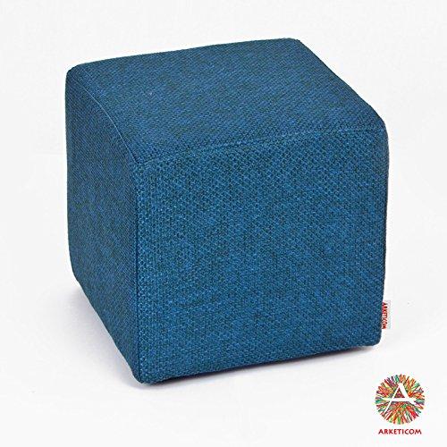 Arketicom Pouf Cubo Poggiapiedi Blue in Poliuretano ad Alta Densita Dimensioni 25x25x25 cm (puf puff pouff pouffe)