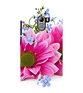 Fuson Premium Back Case Cover Pink floral With Yellow Background Degined For Lenovo K4 Note