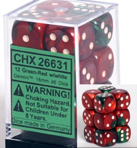 Chessex Dice d6 Sets: Gemini Green & Red with White - 16mm Six Sided Die (12) Block of Dice