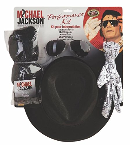 Michael Jackson Costume Accessory Kit with wig, hat, shades and sequin style glove.