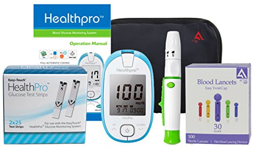 Active1st HealthPro Complete Diabetic Blood Glucose Testing Kit, 50 Count – Measures in mmol/l & mg/dl