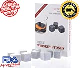 Wishstone Whiskey Stones Set of 9- Whisky Stone Gift Box With Velvet Storage Pouch - Good Alternative To Stainless Steel Ice Cube ,Granite ,Basalt ,Marble, Soapstone Chilling Rocks & Ice Ball Mold.Looks Perfect In Your Whiskey Decanter Bottle , Beer & Wine Glasses ,Best Christmas & Birthday Gifts, FDA Approved - High Quality & Good Review