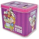 """LDS Girls Tin Tithing / Savings Bank - 3 Slots: Fun Money, Tithing & Savings Fund - Baptism Gift - 5.5"""" X 4"""" X 4.5"""""""
