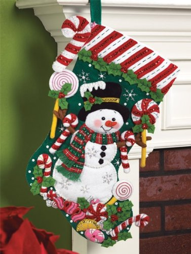 Bucilla 86299 Candy Snowman Stocking Felt Applique Kit, 18-Inch