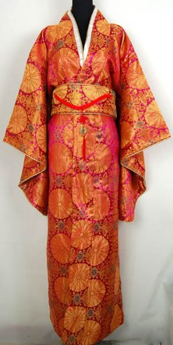 Kimono Japonais Robe Longue Peignoir Orange Taille Unique