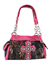 Camouflage Studded Rhinestone Cross Purse Textured Pink Trim