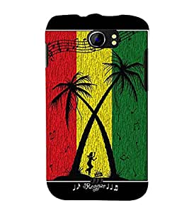 tricoloured musical pattern with coconut trees 3D Hard Polycarbonate Designer Back Case Cover for Micromax Canvas 2 A110::Micromax Canvas 2 Plus A110Q