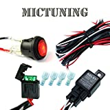 MICTUNING Universal Wiring Harness LED Red Round Toggle SPST Rocker WATERPROOF ON/ OFF Switch for Off Road 4x4 Jeep SUV ATV RZR Truck Marine