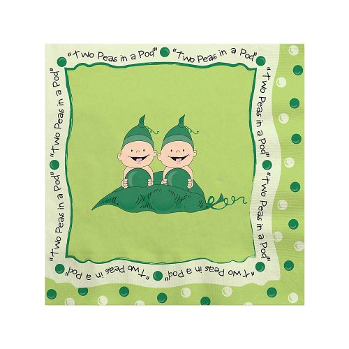 Twins Two Peas In A Pod Caucasian - Birthday Party Beverage Napkins - 16 Ct front-714568