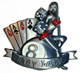 Buckle Lady Luck Poker Aces dice and billiard ball