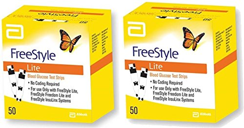 Freestyle Lite Blood Glucose Test Strips, 2 Boxes of 50