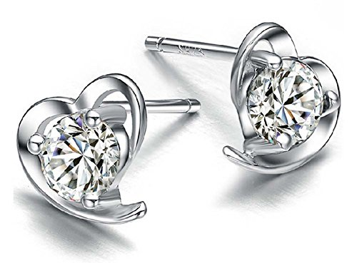925 Sterling Silver Silver Heart Studs Earrings