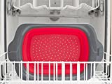Collapsible Kitchen Colander - Over the Sink Kitchen Strainer By Comfify | 6-quart Capacity | Red & Grey
