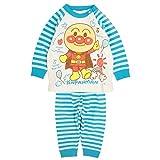 アンパンマン パジャマ ベビー 赤ちゃん 男の子 ミニ裏毛 腹巻付 長袖 寝巻き ブルー 100cm