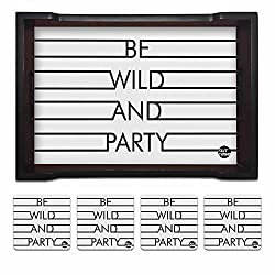 Nutcase Designer Wooden Serving Trays With A Set Of 4 Matching Metal Coasters for Kitchen Serving/Dining Set - Be Wild And Party