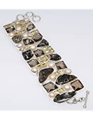 925silvercharm Turtle Agate Smoky Faceted Quartz 925 Sterling Silver Plated Bracelet