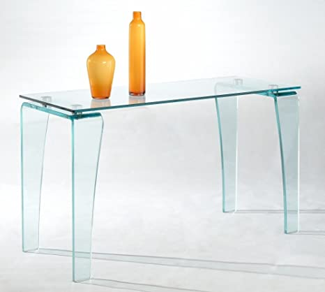 Vera Rectangular Sofa Table with Clear Glass Top
