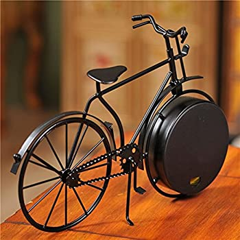NEOTEND Handmade Vintage Bicycle Clock Bike Mute Black Table Clock Black Color