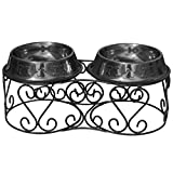 Platinum Pets Deluxe Scroll Double Diner Stand with Two Black Chrome Bowls, 4 Cups